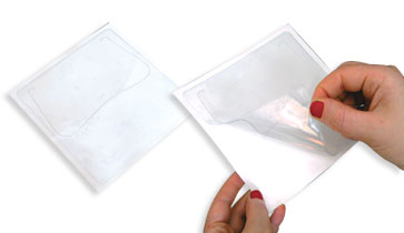 self adhesive cd-dvd sleeve (envelope), plastic, sticker, transparent or semi transparent