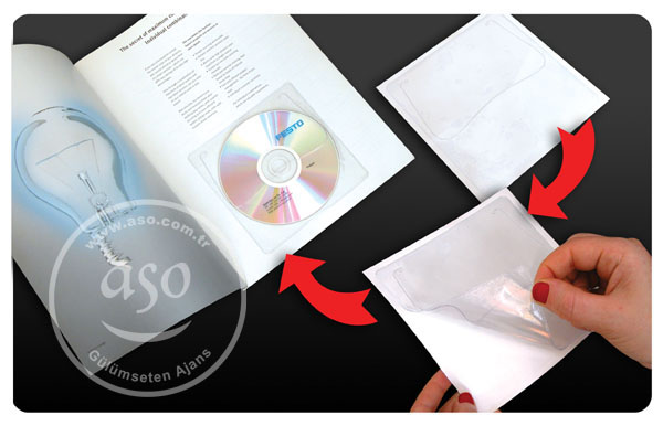 Sticker CD Sleeve, cd-dvd-envelope, self adhesive, transparent or semi transparent